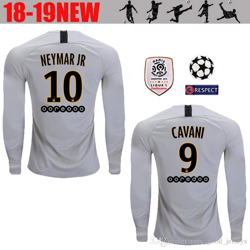 2019 AAA+ Long Sleeve 18 19 Soccer Jersey Paris MBAPPE CAVANI Full Saint  Germain DANI ALVES Third Away 2018 2019 Thailand Quality Football Shirt  From ... a827d617b