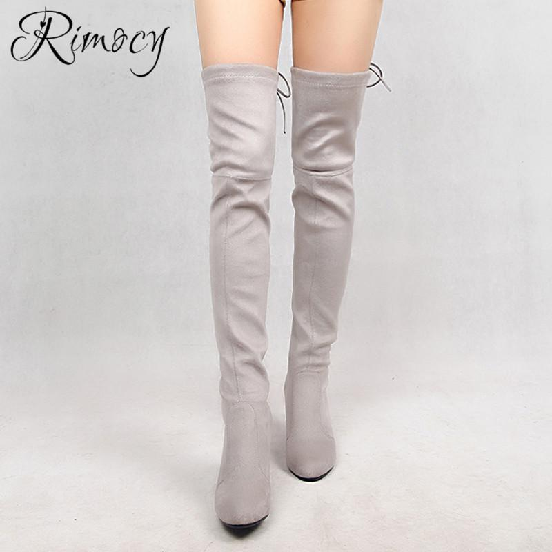f30975bd9847 Rimocy Over The Knee Boots Women 2019 Spring Elastic Fabric Long Boots Back  Lace Up Adjustable Botines Mujer Large Size Shoes Combat Boots Rain Boots  From ...