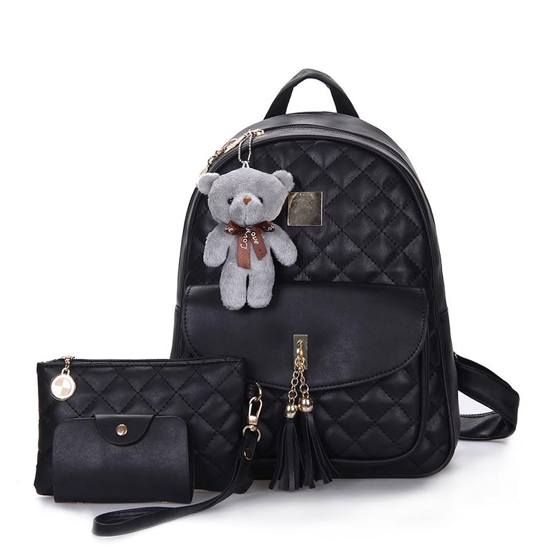 3 Pcs Bear Backpack lady Bag Diamond Lattice School Bags For Girls Backpacks new New Tassel Shoulder Sac A Dos