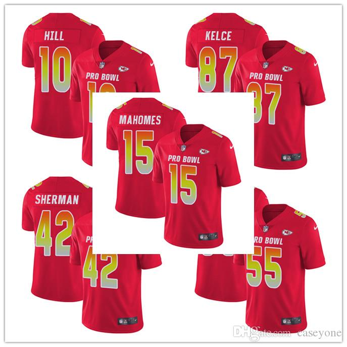 cheaper 9266b 63f1f 15 Patrick Mahomes II 10 Tyreek Hill Limited Jersey Kansas City Men's  Chiefs Red AFC 2019 Pro Bowl Football Jersey