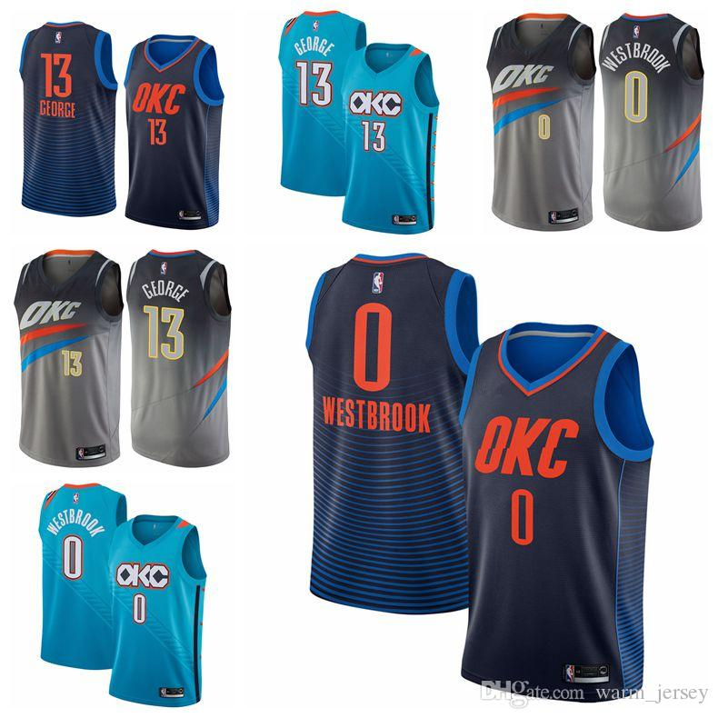 ae8713cd693 2019 Men Paul George Oklahoma Russell Westbrook City Thunder Fanatics  Branded Fast Break Player Jersey Statement Edition Novelty T Shirt Funny  Printed T ...
