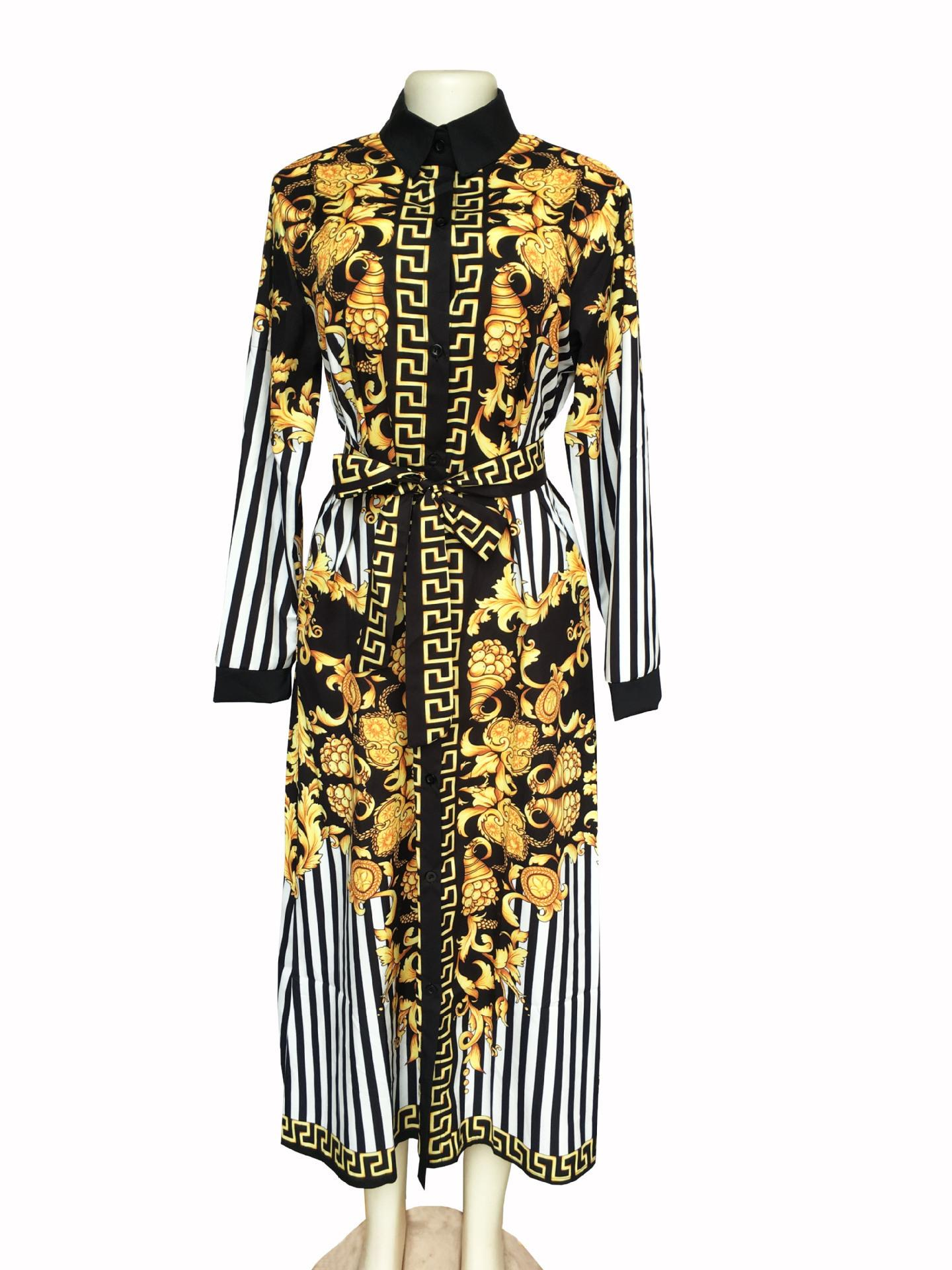 Europe and the United States Africa hot factory real shot digital high-end  fashion print striped long shirt dress female