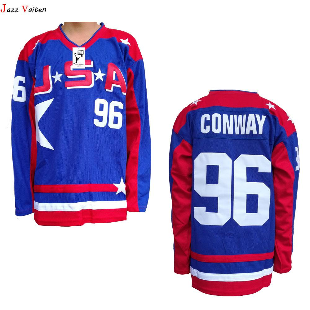 Charlie Conway #96 Team USA Mighty Ducks Movie Hockey Stitched Blue Red Jersey!