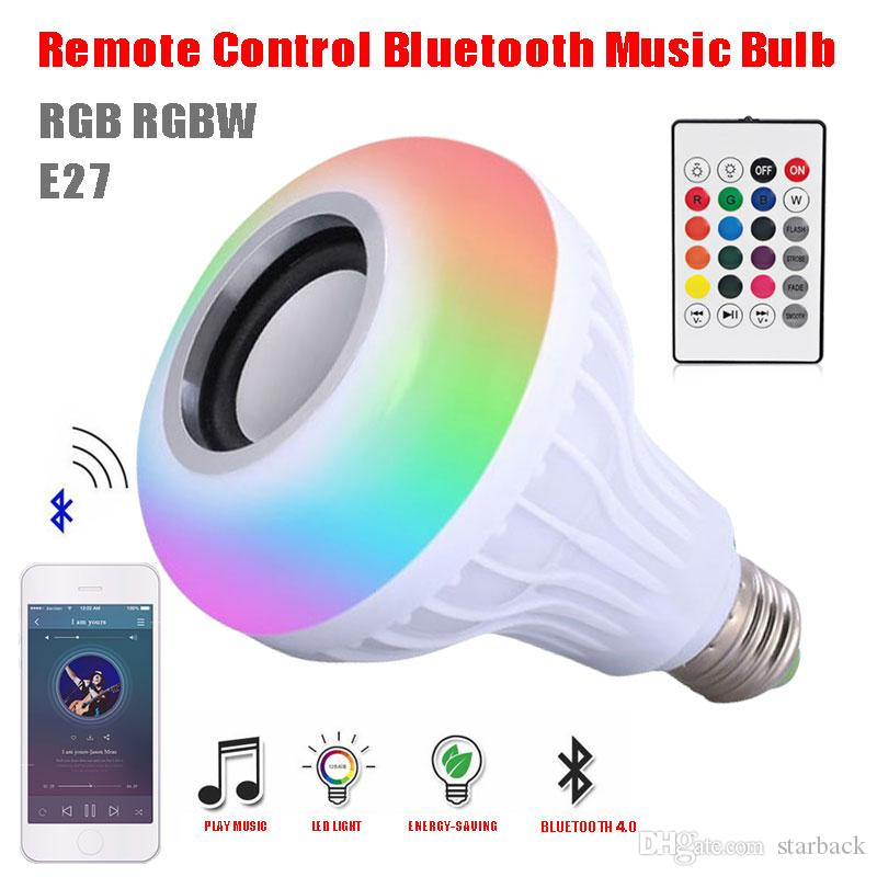 Wireless Bluetooth Speaker LED Bulb 12W Led Smart Audio Music Player with  24 Keys Remote Control