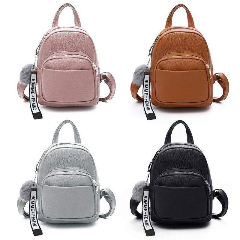 e396cba01f9 Women PU Leather Backpacks Mini Cute Travel Rucksack Ball Pendant Shoulder  Original School Bag
