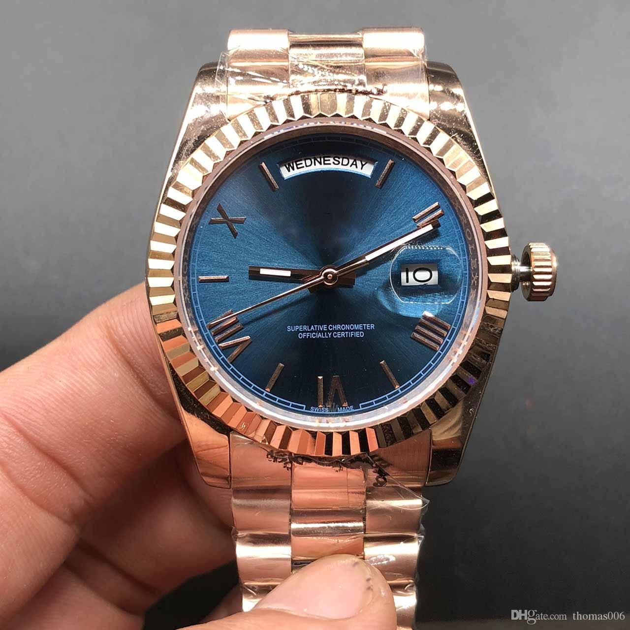 Luxury Top Brands Watch Blue Dial Day Date Rose Gold Stainless