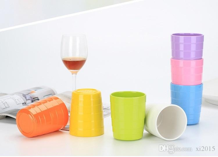 High grade A5 melamine multicolor cup imitation porcelain restaurant water cup antiskid cross grain straight cup W9073