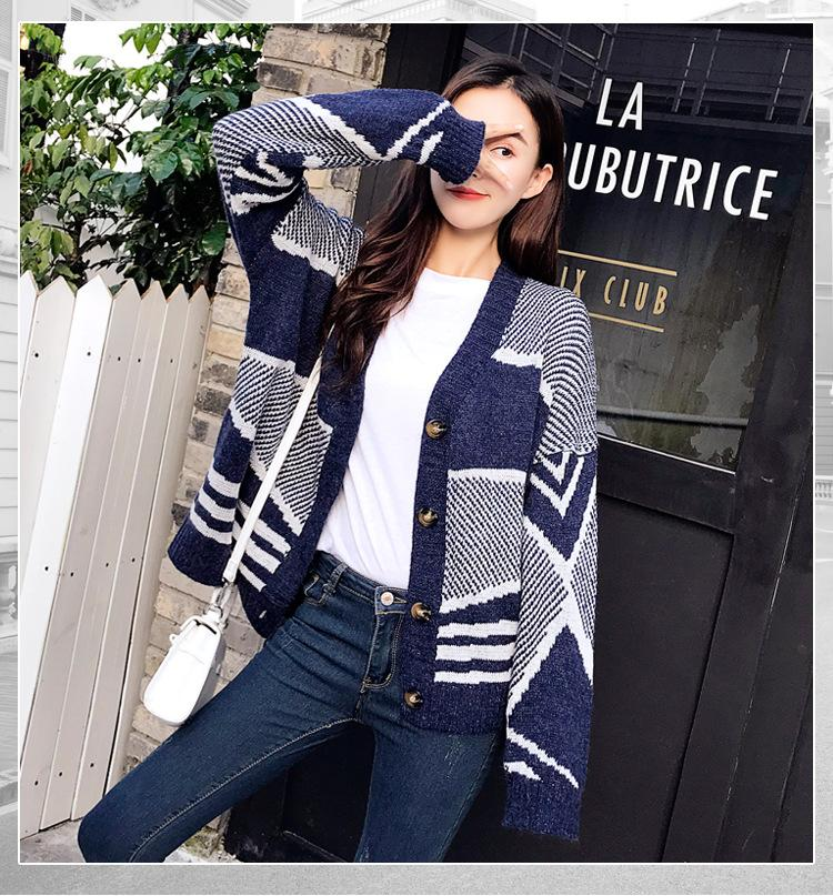 fadb51aff1 2019 Qooth Ulzzang Girl Casual Knitted Cardigan 2018 Winter Korean Women  Loose Knitting Sweater Blue Coat Long Sleeve Jacket QH1704 From Darnelly