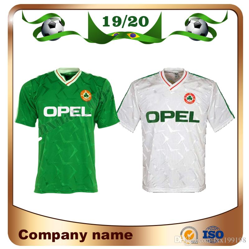 7966cd85417 2019 1990 Ireland Retro Soccer Jersey 1990 World Cup Ireland Home Green Soccer  Shirt National Team Customized Away White Football Uniforms Sales From ...