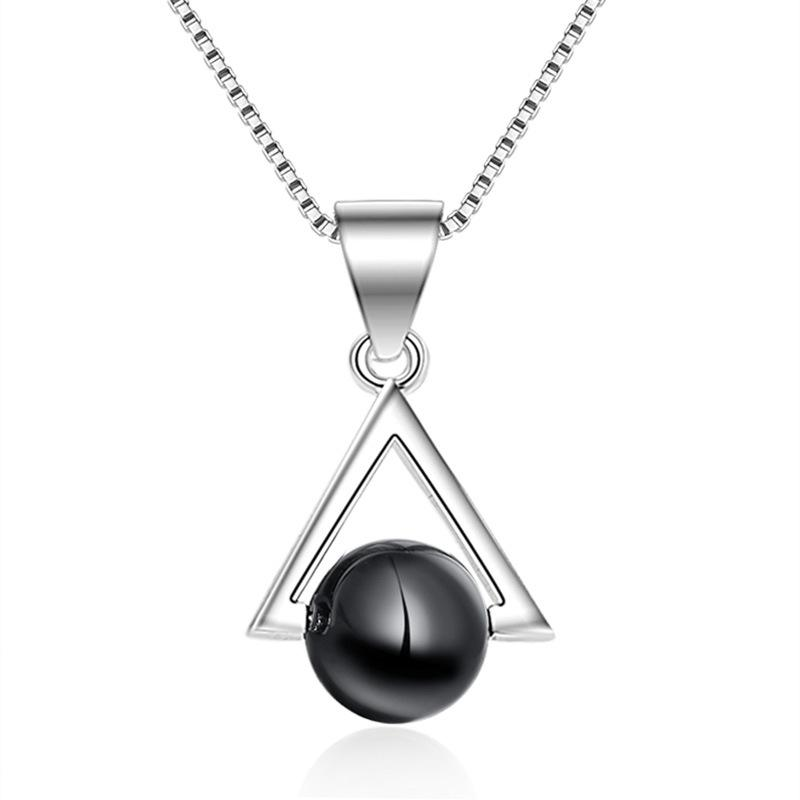 Silver Color Fashion Black Stone Triangle Ladies' Pendant Necklaces Jewelry For Women Female Ladies Birthday Gift Wholesale E144