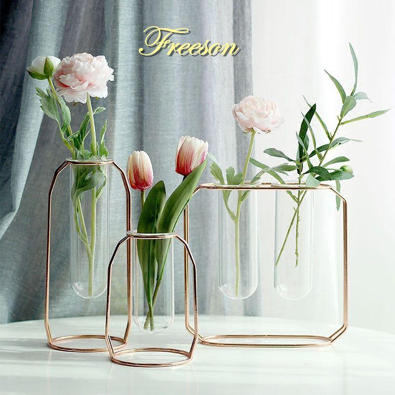 DHgate.com & Nordic Glass Cuvette Vase Modern Gold Plated Iron Flower Vase Fashion Plant Creative Terrarium Room Home Wedding Decoration