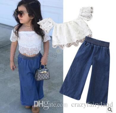 fc84b71b1400b 2019 Baby Girls Lace Clothing Outfits Set 2019 Summer Kids Off Shoulder  Lace Tops Wide Leg Jeans Denim Pants Kids Toddler Girls Clothes 2 7Y From  ...