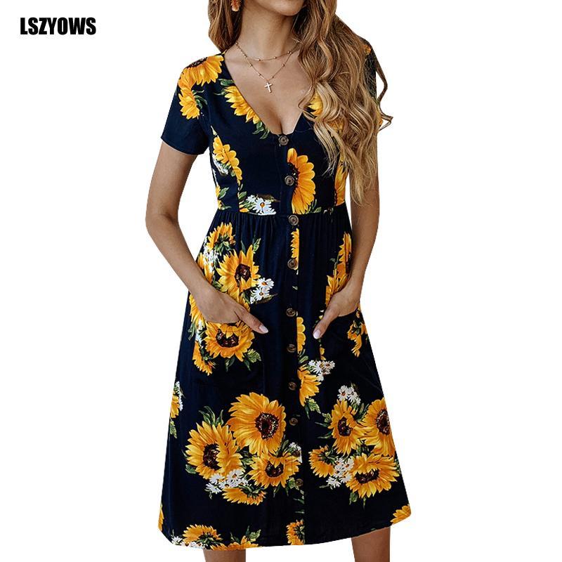 21e8f7ac4057 LSZYOWS Sunflower Print Casual Dress Women V Neck Short Sleeve Summer  Floral Dress Beach Sundress Female High Waist Midi Dresses Dress Style For  Women ...
