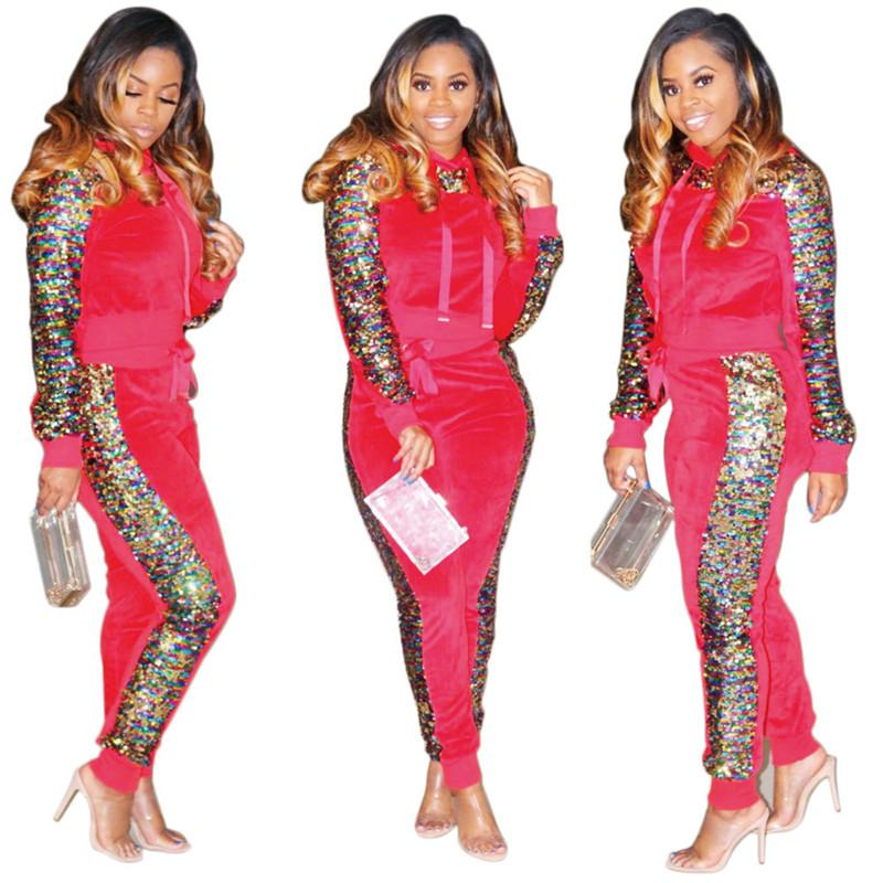 a37dbad0a6df08 Mermaid Women Tracksuit Pullover Hooded Long Sleeve Sequins T Shirt ...