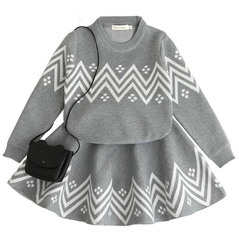 32ca1084f4f9 2019 Baby Girls Clothing Set Children Wave Pattern Knitted Sweater ...