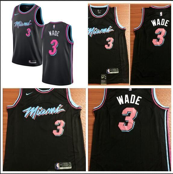 2019 18 19 Season Heat 3 Dwyane Wade 21 Whiteside City S Black Embroidered  Logo Jersey S XXL From Gddjersey5 1fbf27173