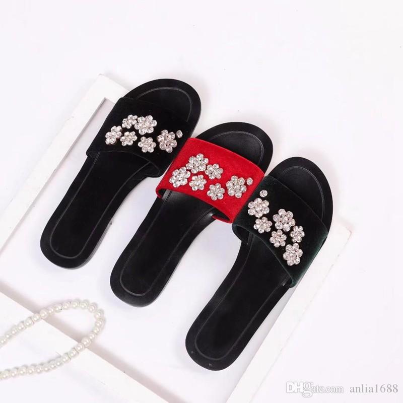 bd3071b99 Womens Fashion Velvet Rhinestones Black Slide Sandals Girls Causal Beach Slippers  Flip Flops Size Euro 35 43 Formal Shoes Rubber Boots From Anlia1688, ...