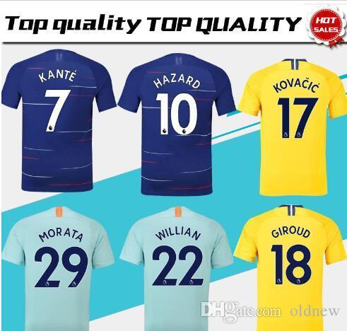 0025187d64 Compre 2018 19 Top Chelsea PERIGO Home Camisa De Futebol Azul MOROTA  WILLIAN Camisa De Futebol De Manga Curta 2019 KANTE FABREGAS Uniformes De  Futebol Venda ...