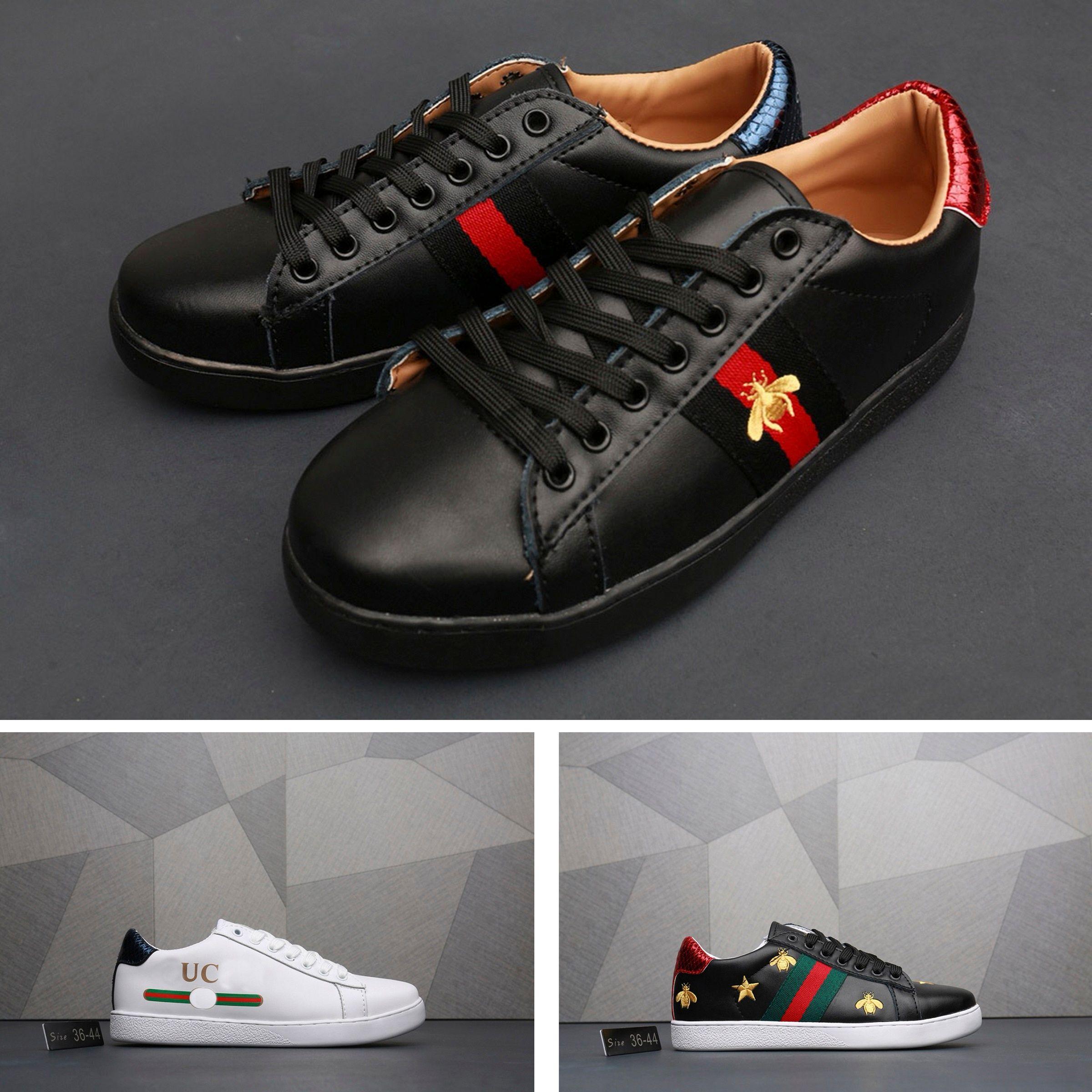 663910f56 Compre Gucci Women Shoes Gucci Sneakers Gucci Men Shoes A Mais Vendida  Marca De Luxo Europeu Tênis Sapatos Tênis De Couro De Pele De Carneiro  Ultra Suave ...