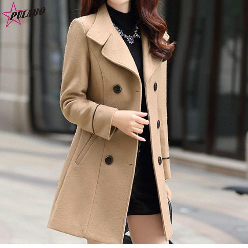 cd4fc65fe9b 2019 PULABO Women S Double Breasted Slim Solid Wool Blend Winter Pea Coats  Winter Long Coat Women Ropa Mujer Invierno Female Jacket From Yujiu