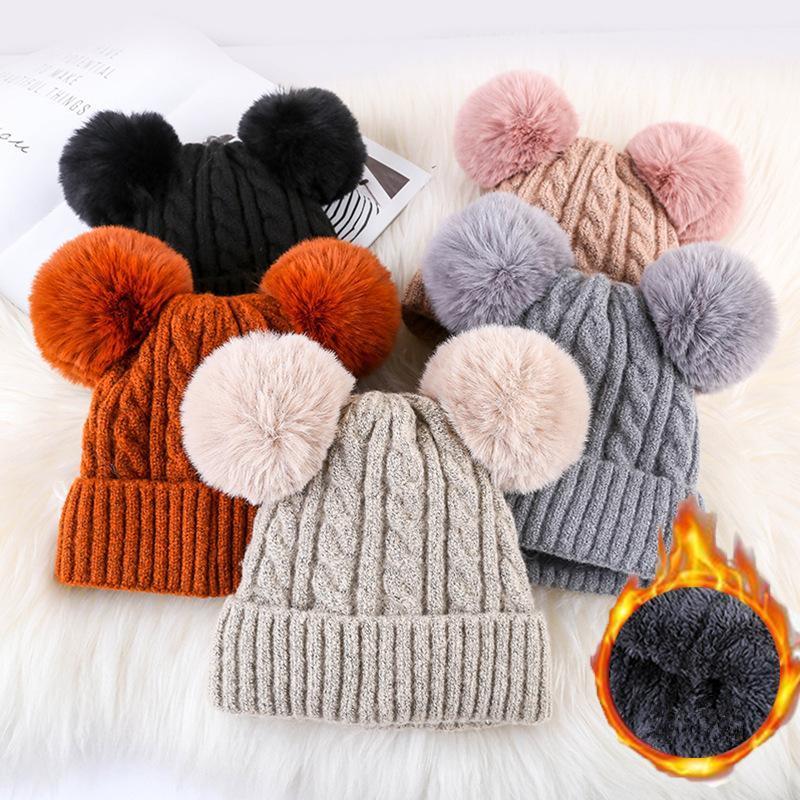 2019 Women Faux Fur Pompom Hat Female Winter Warm Cap Knitted Beanie Girl  Double Ball Pom Pom Hats Woman Bonnet Femme MMA1219 From Mr sport b155bd5fc0
