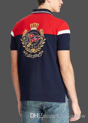 USA Classic Men Striped Polo Shirt New York Big Pony Embroidery Men's Casual T Shirts Short Sleeve Camisa Sport Polos Red Navy Blue