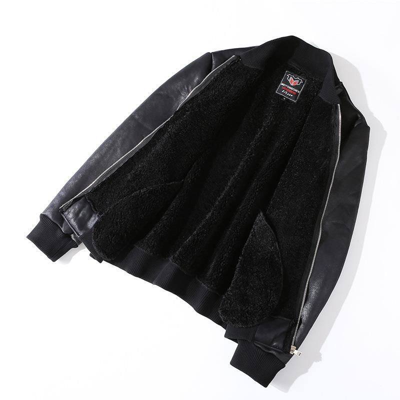 ac2ce5166 Mens Leather Jackets Classic Motorcycle Bike Cowboy Male Plus Lambs Thick  Coats Winter Fleece PU Coats Casual