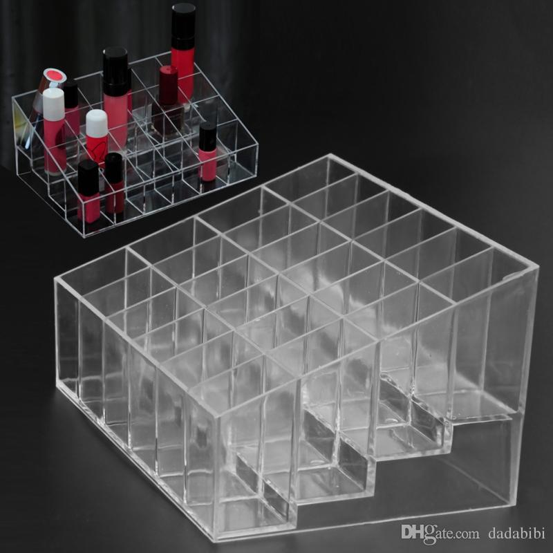 Acrylic Makeup Organizer 24 Grid Storage Box Cosmetic Box Lipstick Jewelry Box Case Holder Display Stand make up organizer