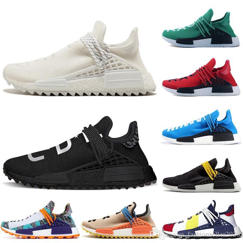 best loved 1420b 065a9 Orange Human Race trail Running Shoes Nerd black cream Men Women Pharrell  Williams HU Runner Yellow White Red sports runner sneaker 36-45