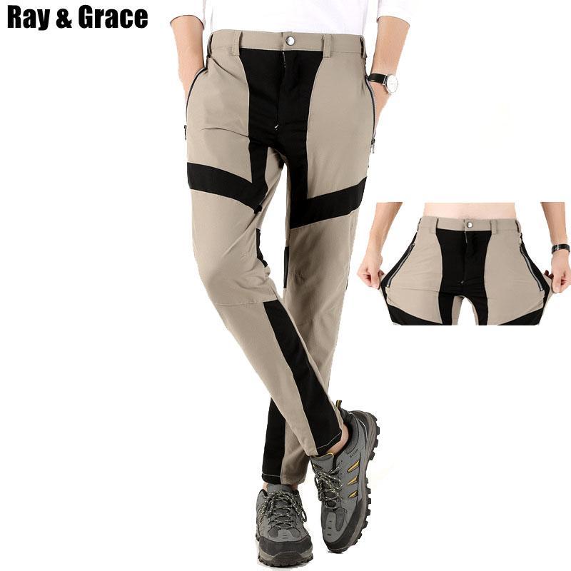 420aac06e7 Compre RAY GRACE Pantalones Deportivos De Verano Hombres Al Aire Libre  Escalada De Secado Rápido Pantalones De Trekking Pantalones De Montaña  Elásticos ...