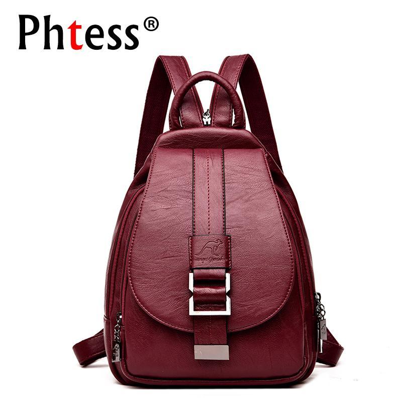 0e99e2d943e 2019 Women Leather Backpacks Vintage Female Shoulder Bag Sac A Dos Travel  Ladies Bagpack Mochilas School Bags For Girls Preppy Q190416