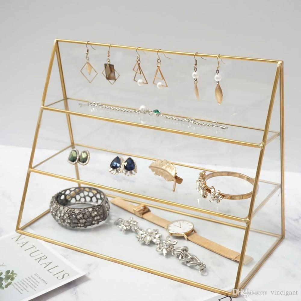 5 pcs Gold Glass Office Hotel Restaurant Metal Jewelry Display Organizer Holder Tray Bathroom Home Decoration
