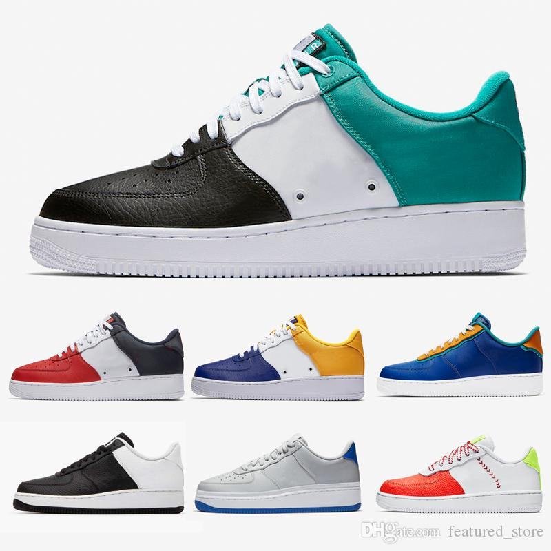 NIKE Air Force 1 Air Forces One Neptune Green casual shoes customs Indigo FC Barcelona Obsidian Skeleton Leather sneaker for man and Women Leisure