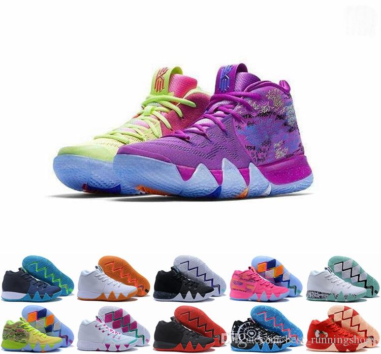 best service 2ff0c 68cfc 2019 kyrie irving 4s Kyrie Lucky Charms Men Basketball Shoes Irving 4 IV  High Quality Confetti Color Green Designer Trainers Sneakers 40-46