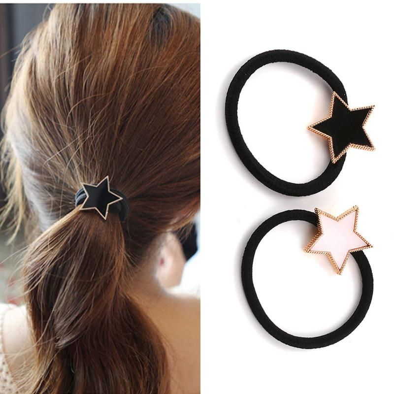 Fashion Star Gold Plated  Hair Holders Elastics Hair Bands New Women Rubber Bands Girl's Rope Tie Gum Accessories