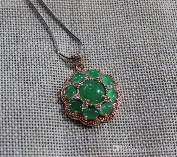 Fine jewelry Silver Inlaid With Natural green Jade round Pendant free shipping