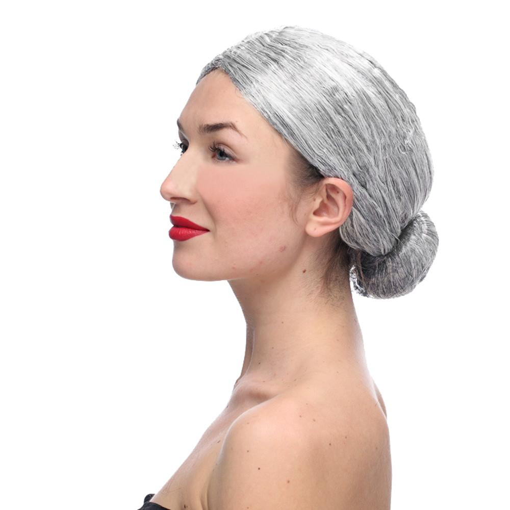 Gray Hair Wigs Old Lady Grandma Granny Grey Wig Bun Hair Grand Mother Fancy  Dress Costume make-up party 2M81114
