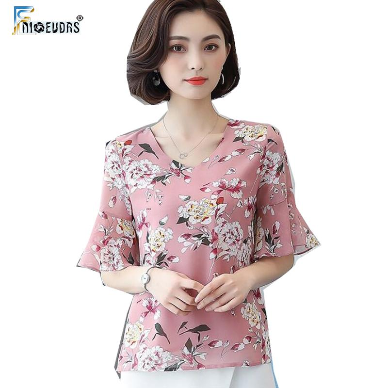 672836f310388d 2019 Floral Chiffon Blouse Shirts Women Tops Fashion Flare Sleeve V ...