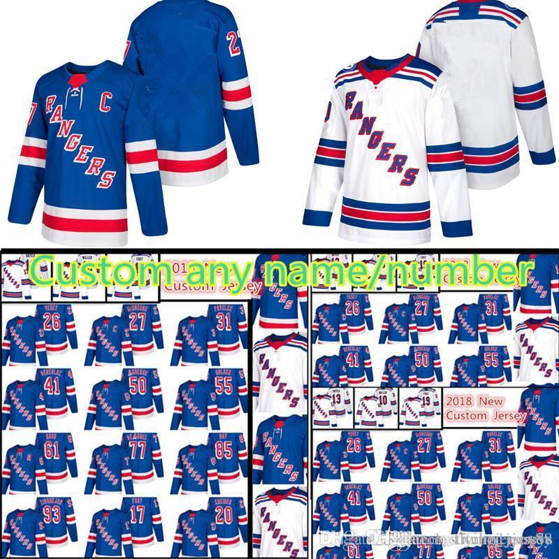 buy online abf94 eb4f3 New York Rangers Custom Jersey 22 Kevin Shattenkirk 41 Alexei Bereglazov 44  Neal Pionk 50 Lias Andersson 77 Tony DeAngelo Hockey Jerseys