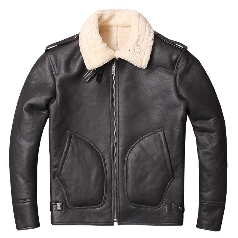 6d38a91b2ce6 2019 2019 Black Men B6 Pilot Shearling Coat Plus Size 3XL Russian Winter  Thick Natural Genuine Aviator Shearling Jacket From Tielian
