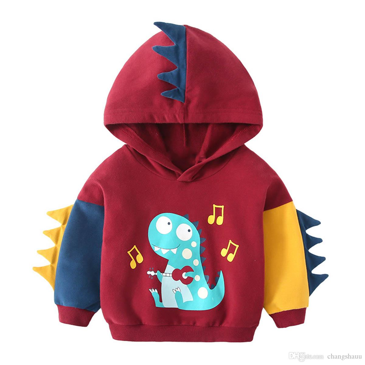 Toddler Girl Boy Spring Autumn Long Sleeve Splice Sweatshirt New Korean Cool Casual Baby Dinosaur Hooded Pullover Hoodies