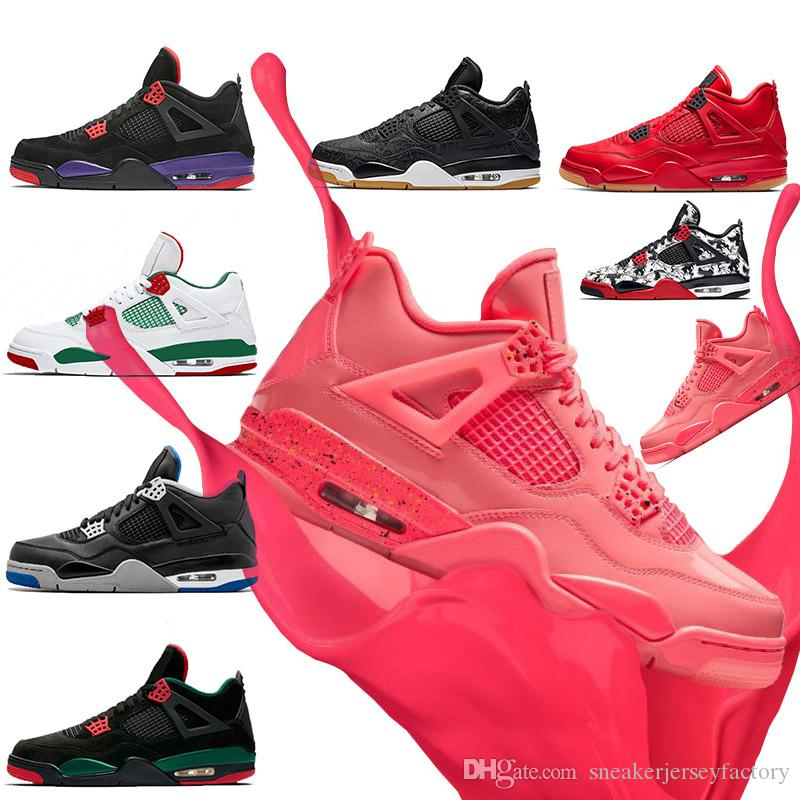 Pink Hot Punch Lava 4s womens basketball shoes IV Raptors Pure Money Pizzeria white black cat gum Tattoo travis scott mens sports sneaker