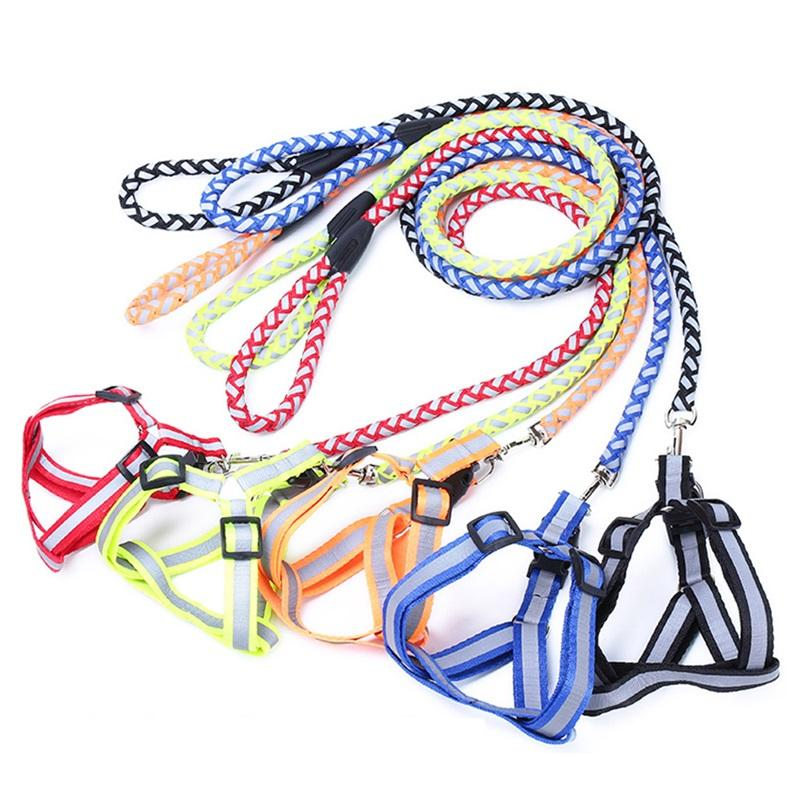 Dog Chest Strap Traction Rope Woven Metal Fittings Reflective Nylon Material Chest Strap Belt Fluorescent Coating Pet Supplies