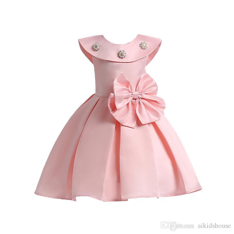 dc18a34a69 Compre Nuevos Vestidos Para Niña Rosa Floral Bowknot Barco Cuello Rojo Sin  Mangas Satén Lleno Encantador Elegante Fiesta De Cumpleaños Concurso  Princesa ...