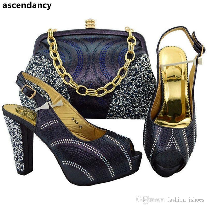 ed48334dc Compre Últimos Juegos De Zapatos Y Bolsos Para La Fiesta Nigeriana Zapatos  A Juego Africanos Y Bolso Zapatos De Fiesta Italianos Para Mujer Decorados  Con ...