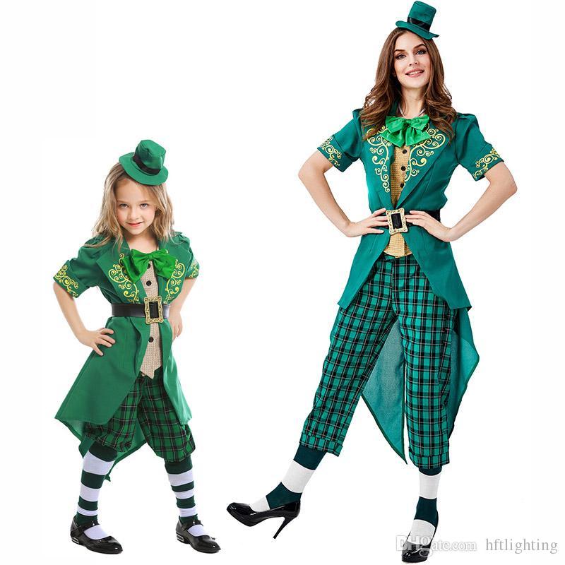 2f059a1b9a35 Kids Adult St. Patrick'S Day Irish Leprechaun Costumes Cosplay For ...