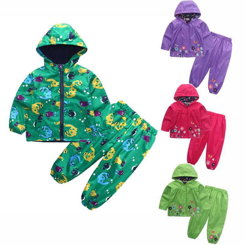 Boys Clothing Set Dinosaur Cartoon Hooded Coat Jacket + Pants Children Sport Suit Spring Girls Clothing Children Clothing