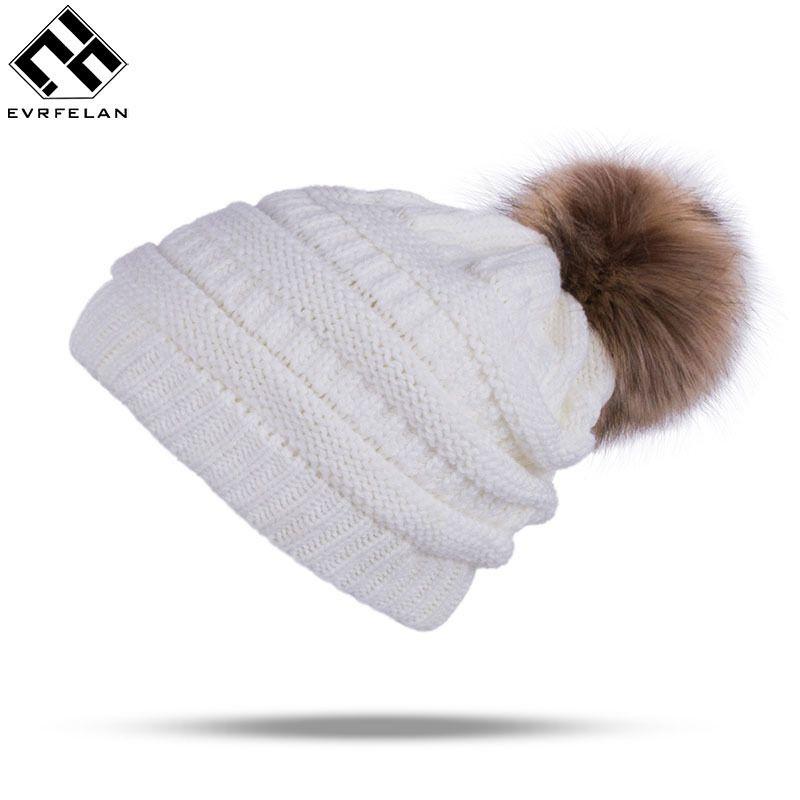 a59a488b3397bd Winter Brand Female Ball Cap Pom Poms Winter Hat For Women Girl 'S ...