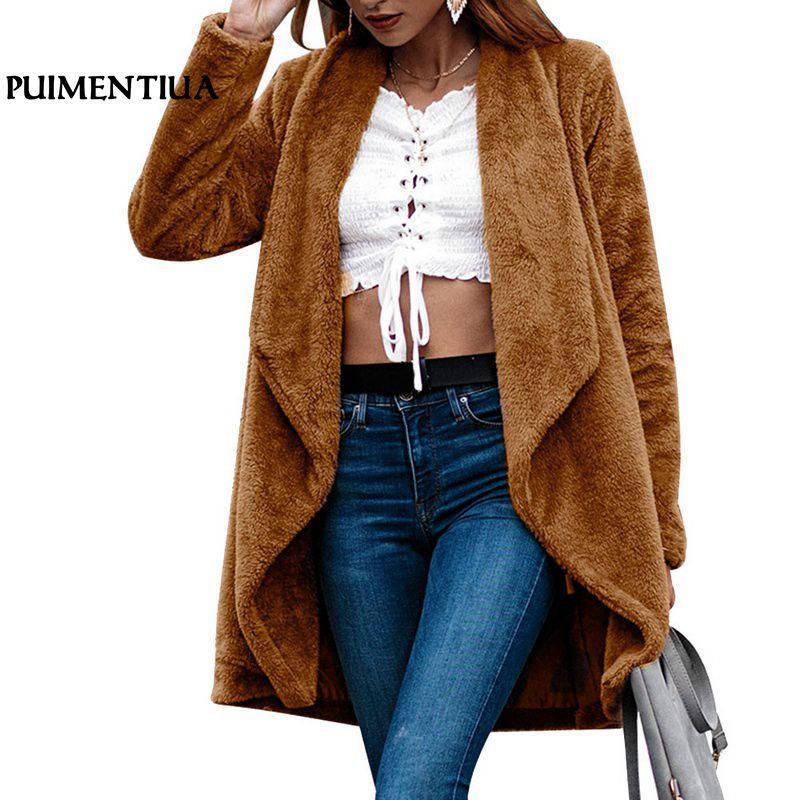 Gran Mujer De Peluche Señoras Prendas Chaquetas Cálido Fur Abrigos Tamaño Felpa 2019 Invierno Faux Abrigo Cardigan Suave Oso Mujeres Puimentiua gqFT8R4xwn