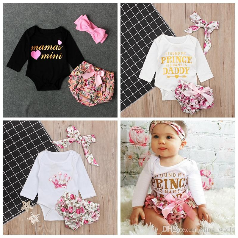 332d7d69e94 2019 Baby Girls Clothing Sets Letter Printed Kids Romper PP Pants Headband Set  Long Sleeve Floral Girl Outfits Kids Clothes 3 Designs YW2243 From ...